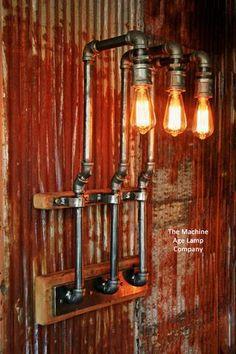 Steampunk, Industrial Barn Wood Wall Sconce, #635