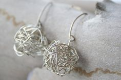 Casual Silver Handmade Ball Earrings Wire wrapped by YLOjewelry