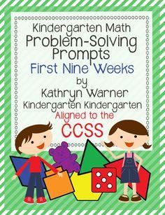 """""""Problem Solving Prompts: First Nine Weeks"""" (from Kathryn Warner; Kindergarten....Kindergarten)"""