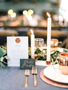 copper wedding accents - 15 OhSoPretty Copper Decor Ideas for Your Wedding Wedding Colors, Wedding Styles, Wedding Ideas, Wedding Inspiration, Wedding Stuff, Wedding Themes, Wedding Designs, Fall Wedding Decorations, Table Decorations