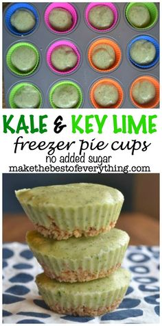 Key LIme Pie cups with Hidden Kale.  No Added Sugar.  Can be made gluten-free.