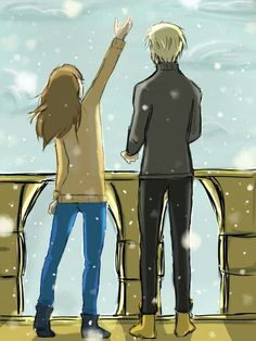 First snow (Dramione) by on DeviantArt Draco And Hermione Fanfiction, Ron And Hermione, Draco Malfoy, Hermione Granger, Harry Potter Drawings, Harry Potter Memes, Dramione Fan Art, A History Of Magic, Sad Pictures
