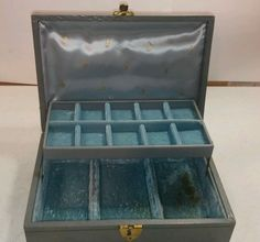 VINTAGE MELE Gold AND Blue / Green DECOR 2 TIER JEWELRY ORGANIZER BOX #mele