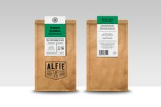 Alfie and Co's mission is to create an honest and natural coffee, selecting the highest quality raw coffee beans, chosen from ethical plantations. The Coffee bags feature a hand-stamped logo with printed labels stitched at the top to seal the bags. Organic Packaging, Food Packaging Design, Coffee Packaging, Coffee Branding, Packaging Design Inspiration, Brand Packaging, Coffee Labels, Branding Design, Coffee Bean Bags