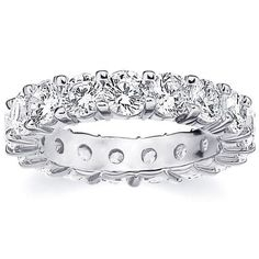 Amore 14k Gold 5ct TDW Shared Prong Diamond Wedding Band (H-I, I1-I2) (White Gold - 11.5), Women's