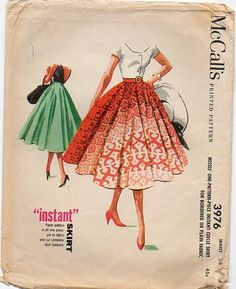 1950s Pleated Full Skirt Sewing Pattern  Waist 24 McCalls 3246 Vintage. $6.99, via Etsy.    Great use of a distinctive border print.