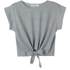 Choies Gray Tie Front Crop Top ($19) ❤ liked on Polyvore featuring tops, shirts, crop top, t-shirts, grey, grey top, tie front shirt, crop shirts and shirt crop top