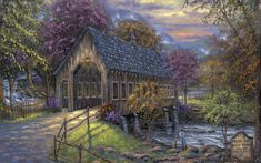 Robert Finale - Emerts Cove Covered Bridge - Sevierville, Tennessee - Americana Collection - oil on canvas