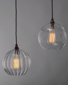 Hereford ribbed glass globe pendant light - PENYARD CUT GLASS PENDANT LIGHT Price: £95.00 This modern shade follows the design of a traditional, cut glass, pineapple pendant light. The pretty shade is available in clear or frosted glass.
