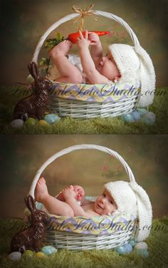 Baby Easter Bunny with Carrot Portrait in a Basket Poses Newborn Pictures, Baby Pictures, Easter Pictures For Babies, St Patrick's Day Photos, Baby Bunnies, Easter Bunny, Foto Newborn, Baby Poses, Foto Baby