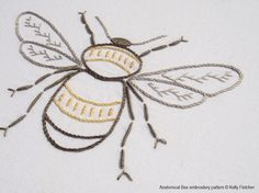 Anatomical Bee A lifelike depiction of a bee in honey yellows and greys.  This design would work well framed as part of a collection of botanical embroideries and prints.  The design measures 5½ x 3½ inches (14 x 9cm).  Need help with a stitch? Try my Stitch Directory on www.kellyfletcher.blogspot.com or my Stitches board on www.pinterest.com/kellylfletcher/stitches.  This is a five-page digital pattern in PDF format.  The pattern includes: Needle and thread requirements: A list of the DMC…