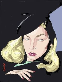 Lauren Bacall Today | Cartoon: Lauren Bacall (medium) by sanjuan tagged lauren,bacall,girl ...