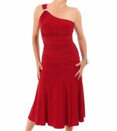 Red Crystal Diamante One Shoulder Cocktail Dress #womensfashion #partywear #eveningwear Justblue.com