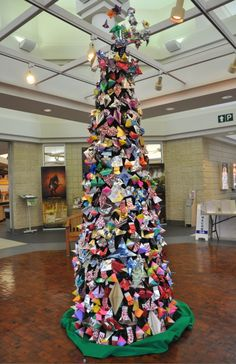 The origami Christmas tree at the Georgia Visitor Information Center in Ringgold, Georgia. It was made by the staff & Ringgold Middle School students using 1,275 milk cartons!