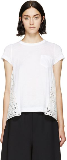 Sacai Luck White Hybrid Eyelet Panel T-Shirt  THE KNIT WOVEN COMBO TEE WE NEED TO DO