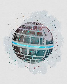 Star Wars Death Star Watercolor Art - Star Wars Death Star - Ideas of Star Wars Death Star - Star Wars Death Star Watercolor Art Theme Star Wars, Star Wars Room, Star Wars Party, Wallpaper Cars, Star Wars Wallpaper, Desenho Do Star Wars, Decoracion Star Wars, Star Wars Zimmer, Anniversaire Star Wars