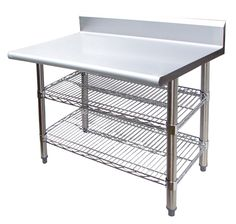 "Universal B5TS2430 - 24"" X 30"" Stainless Steel Work Table W/ Back Splash and Wire Under Shelf"
