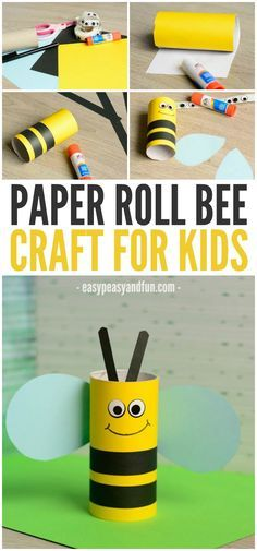 Cute Toilet Paper Roll Bee Crafts For Kids . - Cute toilet paper roll bee craft for kids bees paper - Bee Crafts For Kids, Craft Activities For Kids, Toddler Crafts, Preschool Crafts, Toddler Activities, Diy For Kids, Fun Crafts, Simple Crafts, Creative Crafts