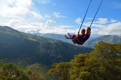 This swing is famous all over Ecuador. It's located in Banos and in front of the huge volcano.