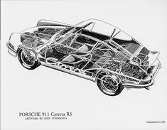 Porsche 911 Carrera RS cutaway by Shin Yoshikawa