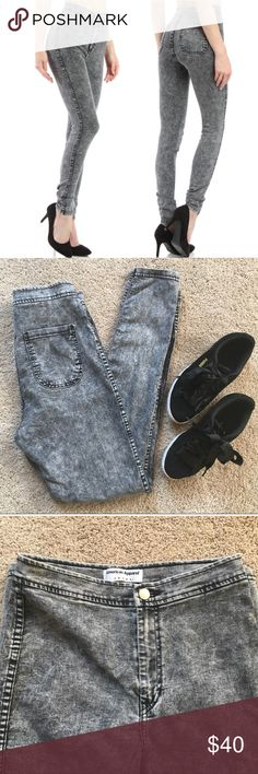 AMER APPAREL acid wash jeans Mercian apparel acid wash gray high waisted jeans. Pockets in back, zippers and silver button enclosure. Skinny cut.   Excellent used condition - no flaws! • posh ambassador • 1 - 2 day fast shipping • 5 star rated seller •  Size: M Length: 40 in.  Inseam: 30 in.  Width: 12 - 12.5 in.  Material: 77% Cotton 21% polyester 2% elastane American Apparel Pants