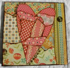 Mixed+media+heart+collage+on+canvas+by+MixedMediology+on+Etsy,+$20.00