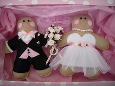 Felt Gingerbread bride and groom