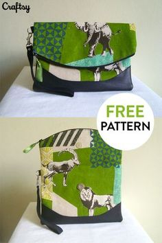 A versatile, foldover clutch that is ideal for both casual and formal events. A magnetic snap holds the shape of the bag, folded perfectly in place, and a concealed back zippered pocket keeps your small items secure. Get the free pattern at Craftsy!