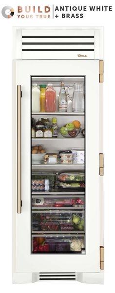 """Antique White + Brass   Inspired by chefs, refined for the home, and now designed by you, your custom True will both anchor your kitchen and set it apart.   Featured Product: 30"""" Refrigerator Column from TRUE"""