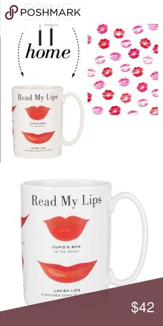 NWT Kate Spade Mug 'Read My Lips' ceramic mug from Kate Spade, comes with original box. Perfect as a gift for someone else or a treat yoself moment! 💋 kate spade Accessories