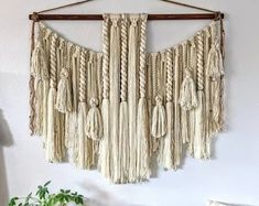 Macrame Wall Hanging Diy, Hanging Wall Art, Wall Hangings, Macrame Design, Macrame Patterns, Wooden Beads, Etsy, Wall Decor, Bedroom Decor