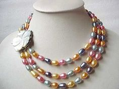 XaXe.com - COLORFUL FW PEARL NECKLACE WITH 2-PAIR EARRING