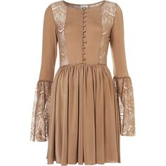 **Flared Sleeve Skater Dress by Coco's Fortune ($14) ❤ liked on Polyvore featuring dresses, mocha, flared skater dress, flare dress, long sleeve flare dress, longsleeve dress and beige dress