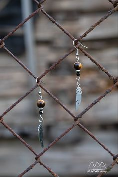 Romantic feather and Tiger Eye drop earrings Human Art, Czech Glass Beads, Gemstone Jewelry, Dangle Earrings, Minerals, Arrow Necklace, Dangles, Feather, Stainless Steel