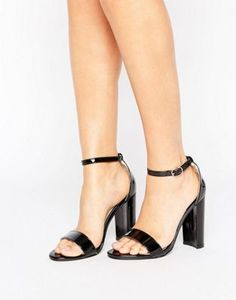 Glamorous Black Patent Barely There Block Heeled Sandals