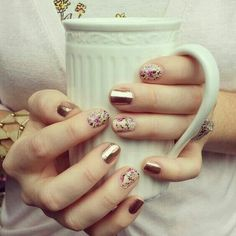 Rose Gold and Sweet Symphony Jamberry nails! Gorgeous Nails, Love Nails, Fun Nails, Uñas Jamberry, Jamberry Nail Wraps, Stylish Nails, Trendy Nails, Mode Inspiration, Nails Inspiration
