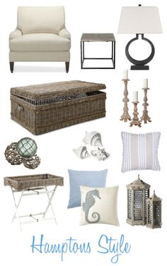Relaxed Hamptons Style - wicker chest, globes in rope