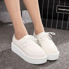 f1c61c49d525 White Platform Creepers Shoes Ver.1 SD00166