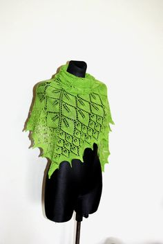 Lime Green Hand Knit Shawl Green Shawl Knit Scarf by aboutCRAFTS