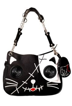 Cat Kitty Speaker Handbag Bag by Banned Emo Goth Punk for iPod Radio Phon Cat Purse, Cat Bag, Purse Wallet, Clutch Bags, Purple Handbags, Purple Purse, Purple Cat, Dior Handbags, Black Handbags