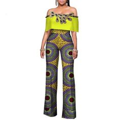 Africa Women Rompers Womens Jumpsuit, African Off Shoulder Long Pants for Women High Waist Bodysuit African American Fashion, African Print Fashion, Africa Fashion, African Attire, African Wear, African Dress, African Style, Rompers Women, Jumpsuits For Women
