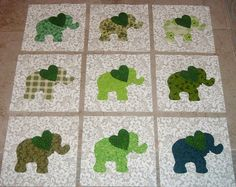 Image detail for -Baby Green Elephant with Heart Quilt Blocks by MarsyesQuiltShop