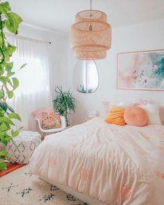 Home Interior Living Room .Home Interior Living Room Stylish Bedroom, Cozy Bedroom, Bedroom Ideas, Peach Bedroom, Bedroom Inspo, Bedroom Designs, Master Bedroom, Modern Bedroom, Bohemian Bedroom Diy