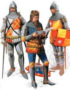 English; Edward, Lord Ie Despencer, KG, King Edward III of England  & John de Vere, 7th Earl of Oxford