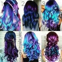1 2 3 4 5 or 6 . Cute Hair Colors, Pretty Hair Color, Beautiful Hair Color, Hair Dye Colors, Hair Colour, Purple Hair, Ombre Hair, Gray Hair, Galaxy Hair Color