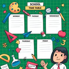 Back to school timetable template Free V. Weekly Planner Template, Printable Planner, Pre School, Back To School, Timetable Template, School Timetable, School Template, English Worksheets For Kids, Study Planner