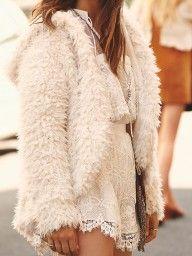 White Asymmetric Hooded Fluffy Faux Fur Coat
