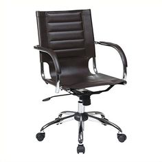 AVE SIX Trinidad Office Chair with Fixed Padded Arms and Chrome Finish Espresso * More info could be found at the image url.Note:It is affiliate link to Amazon.