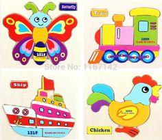 Preescolar rompecabezas de la historieta animal 3d puzzle de madera juguetes para niños aprendizaje y juguetes educativos del envío libre(China (Mainland))