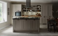Create your perfect shaker style kitchen with Howdens.  Click the image to find more ideas and inspiration for your kitchen design.  This is the Fairford Cashmere kitchen range.
